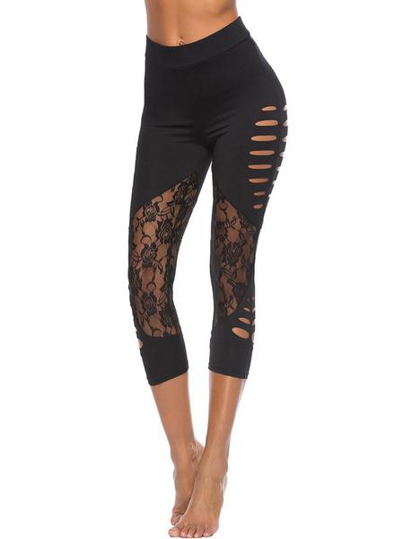 Milanoo Women Yoga Leggings Black Lace Cut Out Elastic Waist Skinny Leggings