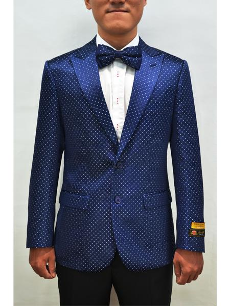 Alberto Nardoni Men Floral Fancy Sport Coat Bow Tie Prom Royal Blue