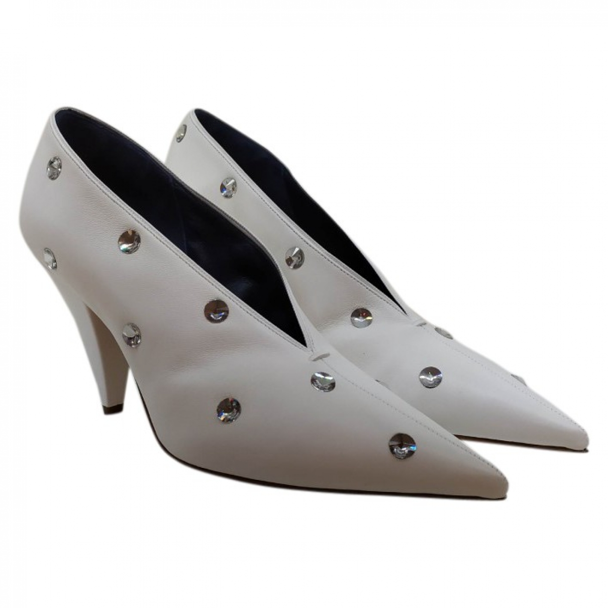 Celine - Escarpins Soft V Neck pour femme en cuir - blanc