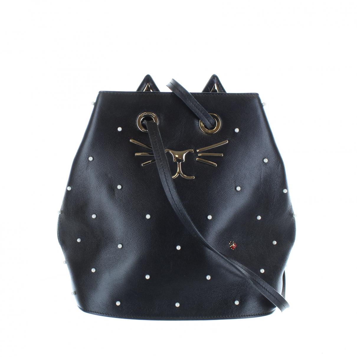 Charlotte Olympia \N Handtasche in  Schwarz Leder