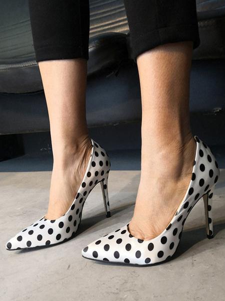 Milanoo High Heels Pumps White Pointed Toe Polka Dot Stiletto Heel For Women