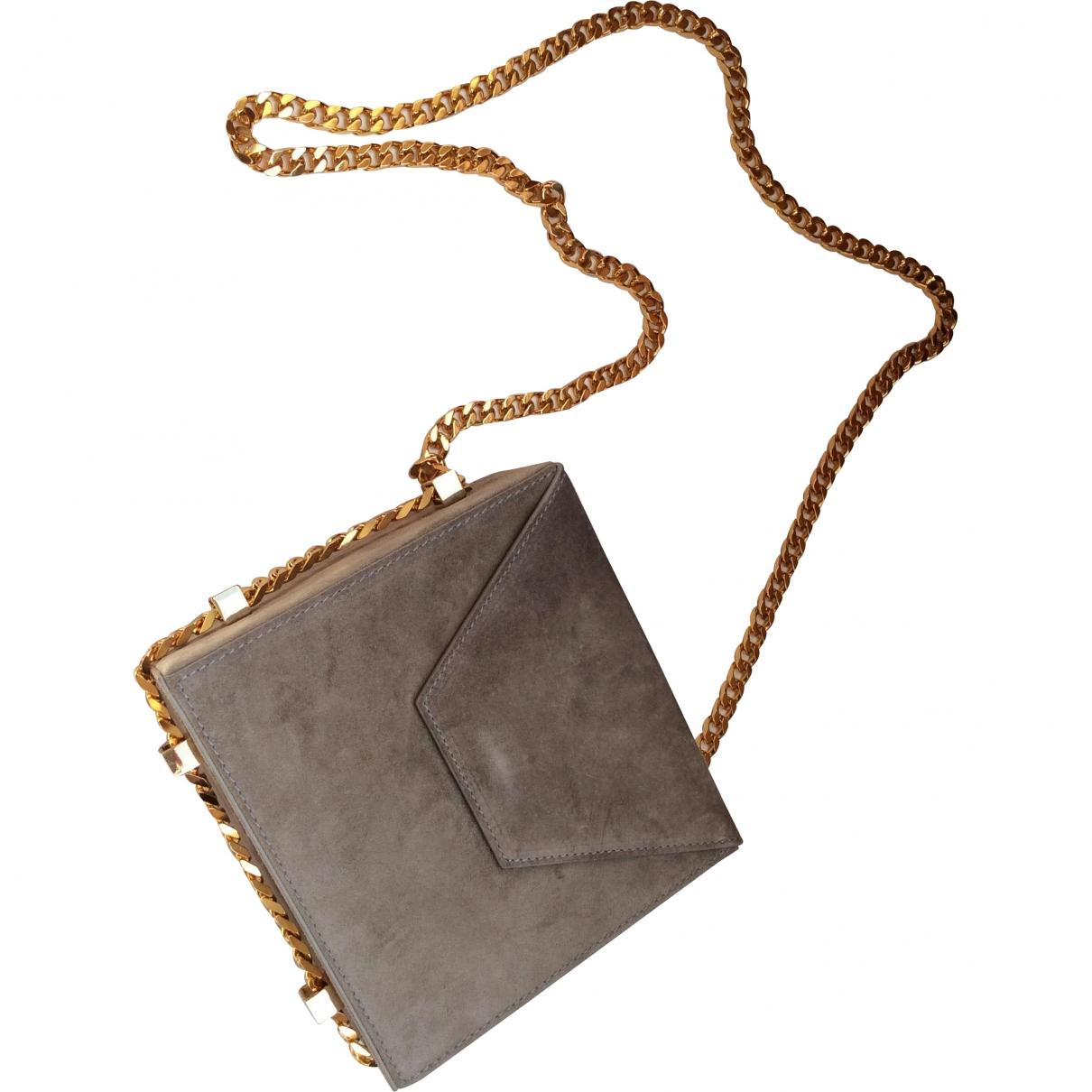Non Signe / Unsigned \N Handtasche in  Grau Veloursleder
