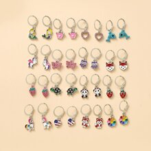 16pairs Rhinestone Decor Heart Charm Drop Earrings