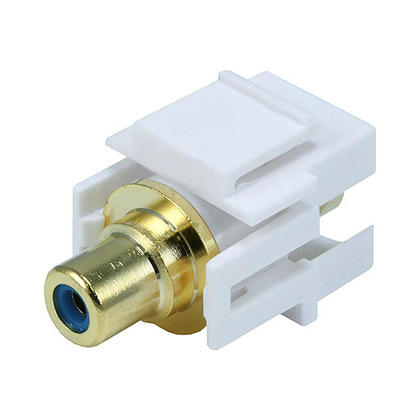 Modular RCA w/Blue Center Keystone Jack, Flush Type - White - Monoprice®
