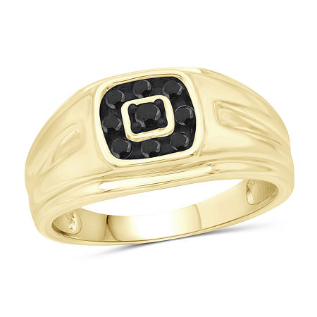 Mens 1/4 CT. T.W. Genuine Black Diamond 14K Gold Over Silver Ring, 11 , No Color Family