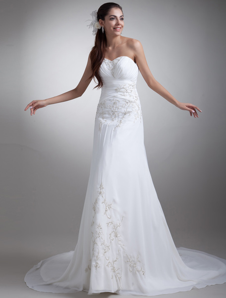 Milanoo White A-line Strapless Embroidered Bridal Wedding Gown with Sweetheart Neck