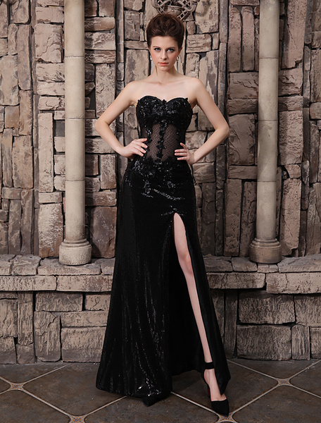 Milanoo Black Wedding Dress See Through Bodice Lace Applique High Split Sequin Skirt  wedding guest dress
