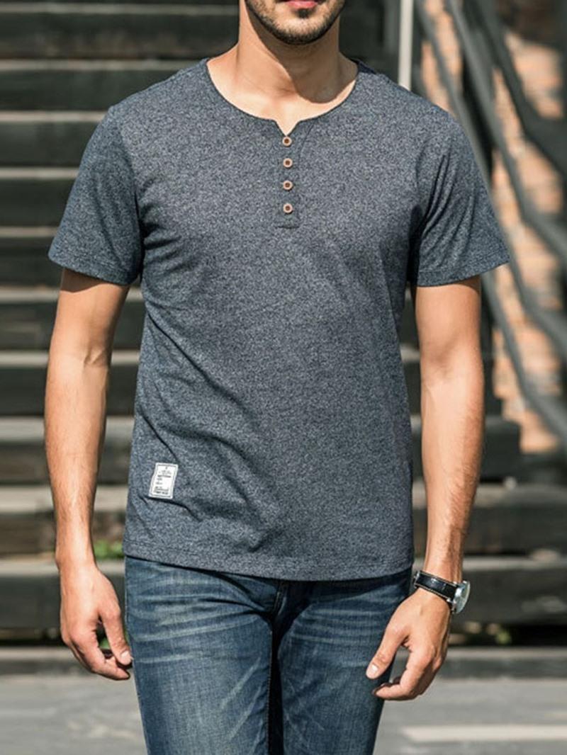 Ericdress Round Neck Plain Button Short Sleeve Loose T-shirt