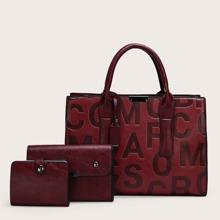 3 Stuecke Handtasche Set mit Buchstaben Grafik