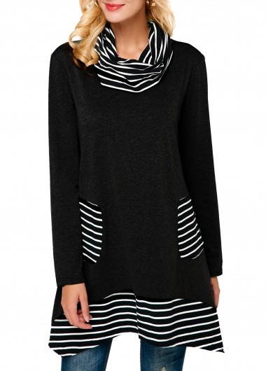 Women'S Black Long Sleeve Cowl Neck Casual Sweatshirt Striped Pullover Longline Tunic Top By Rosewe - L