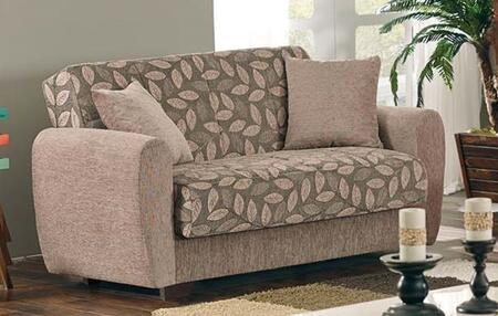 Chestnut Collection LS-CHESTNUT2016 63 Loveseat with Hidden Storage Compartment  Floral Pattern  Throw Pillows Included  Fabric Upholstery in Beige
