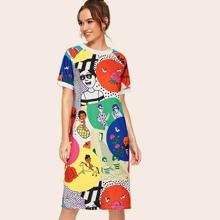 Vestido estilo camiseta con estampado de dibujos animados y letra