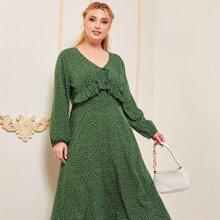 Plus Polka Dot Ruffle Trim Maxi Dress