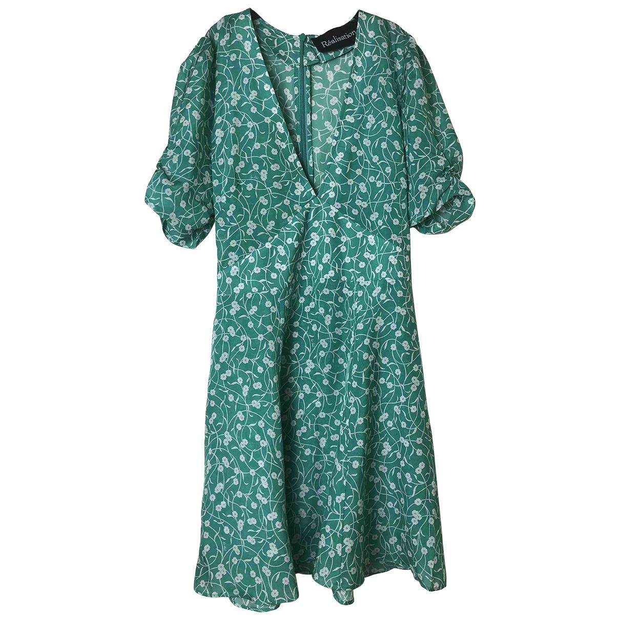 Realisation - Robe Ozzie pour femme en soie - vert
