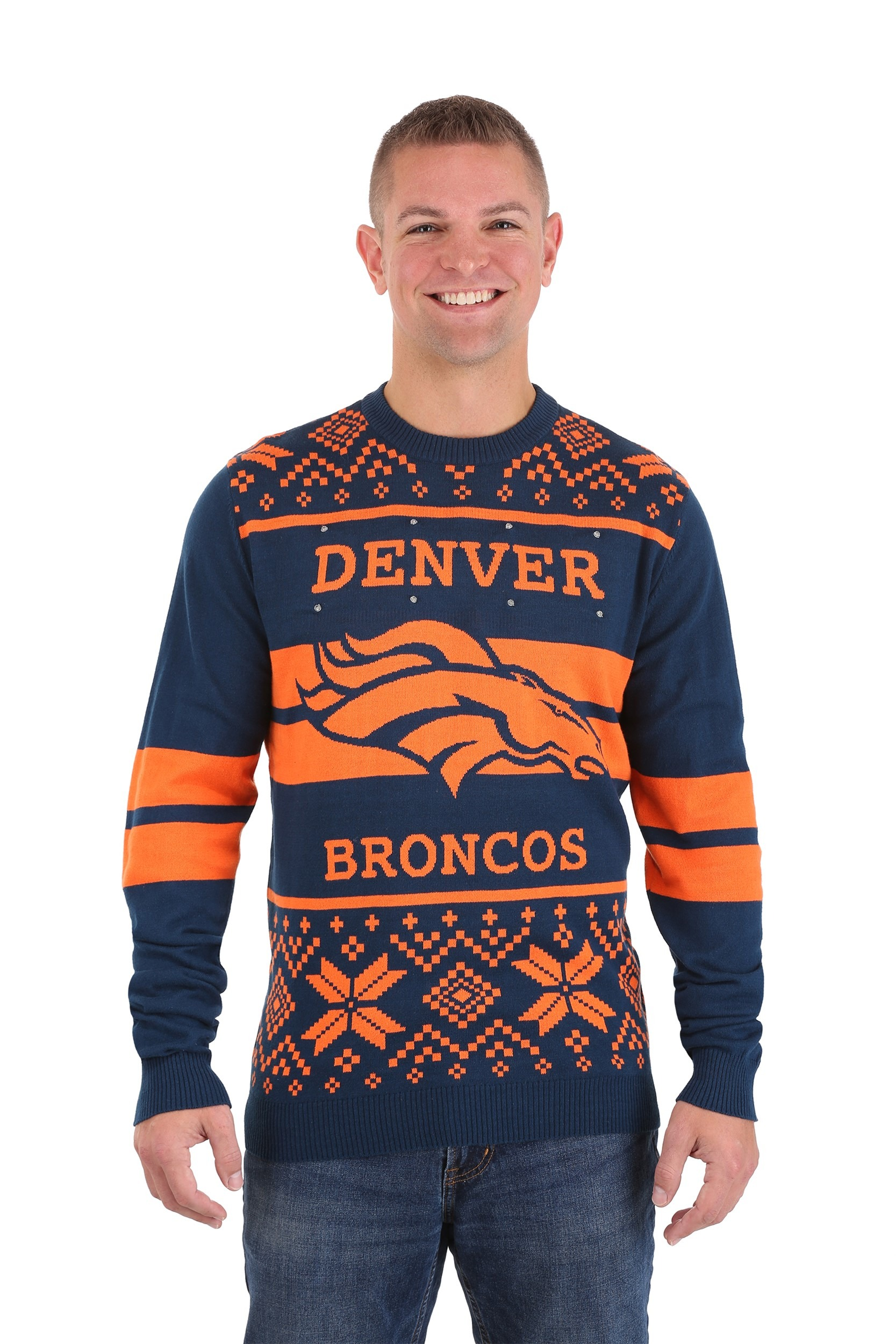 Men's Denver Broncos 2 Stripe Big Logo Light Up Sweater