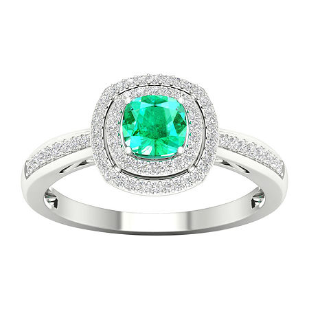 Womens 1/5 CT. T.W. Genuine Green Emerald 10K Gold Cocktail Ring, 6 , No Color Family