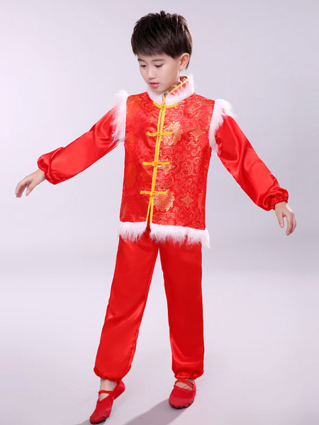Milanoo Kid Chinese Costumes Red Dance Outfit Nice Carnival Costumes