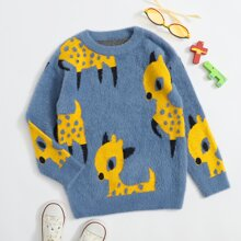 Boys Cartoon Graphic Fluffy Knit Sweater