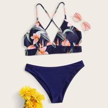 Bikini Set mit Neckholder und Blumen