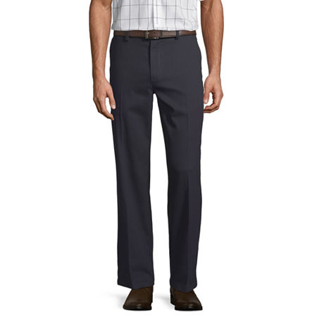 St. John's Bay Easy Care Men's Stretch Classic Fit Flat Front Pant, 38 32, Blue