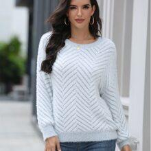 Chevron Pattern Fluffy Knit Sweater