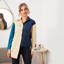 Colorblock Single Breasted Corduroy Coat