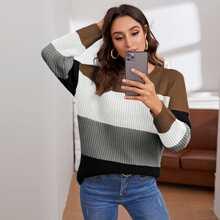 Jersey tejido de canale de color combinado de hombros caidos