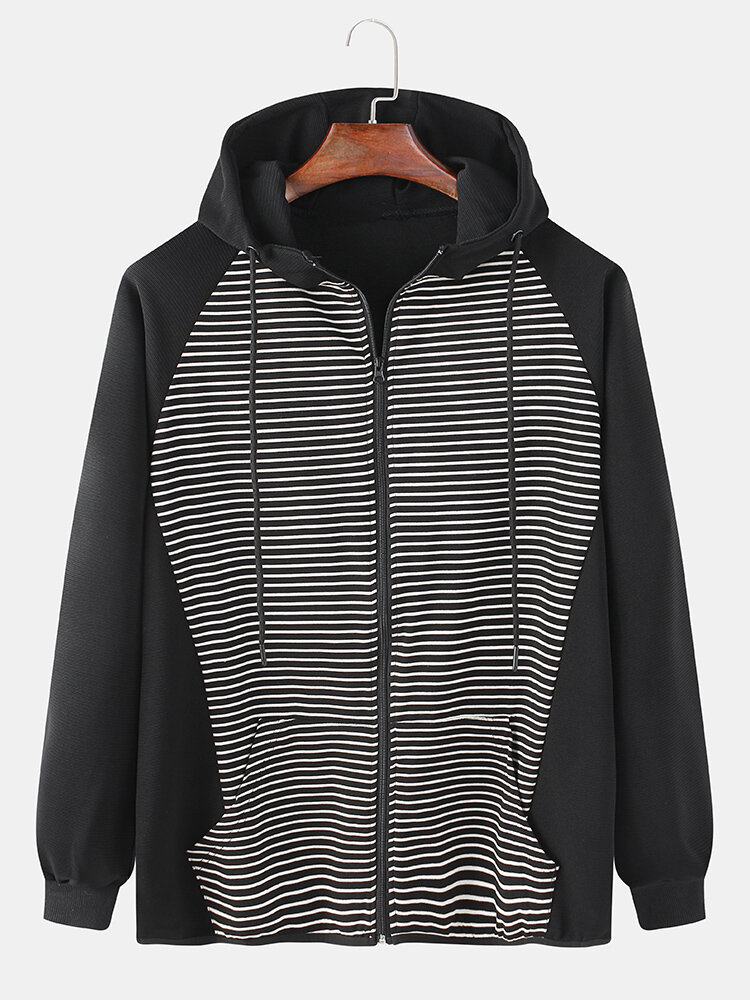 Mens Cotton Contrast Stripe Patchwork Casual Drawstring Hooded Cardigans