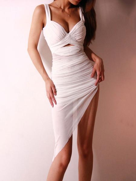 Milanoo Club Dress For Women White Pleated Polyester Irregular Sexy Dress