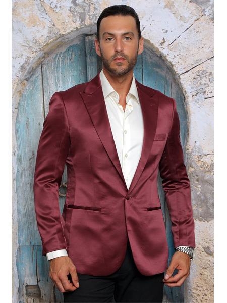 Mens Shiny Flashy Satin Solid Blazer ~ Sport Coat Burgundy Available