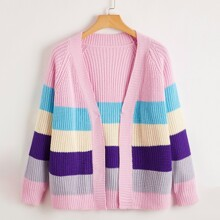 Plus Open Front Colorful Striped Cardigan