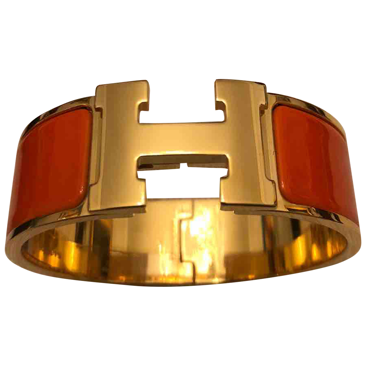Hermes Clic H Armband in  Orange Stahl