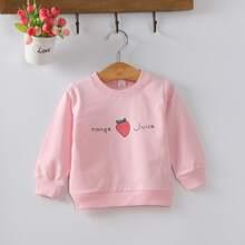 Sweatshirt mit Buchstaben & Erdbeere Muster