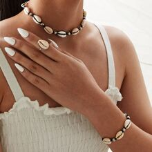 Shell Design Necklace & Bracelet & Ring 3pcs