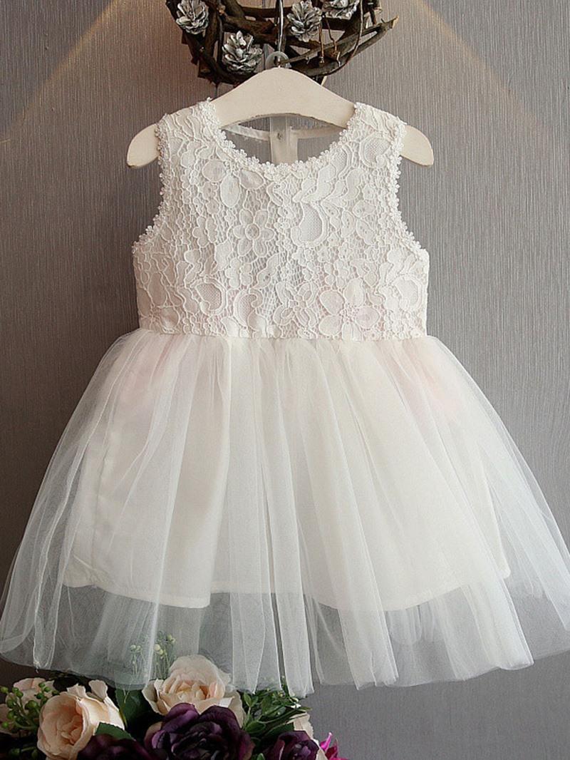 Ericdress Fashion Mesh Lace Sleeveless Bow Princess Girls Dress
