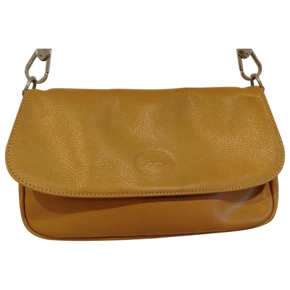Longchamp - Sac a main   pour femme en cuir - beige