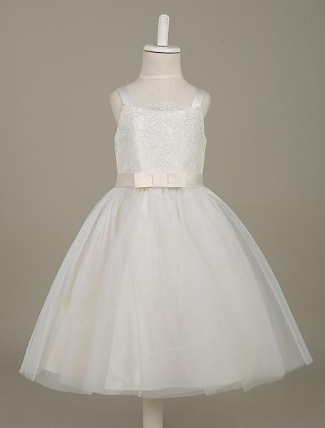 Milanoo Vestido para las damitas blanco con tirantes con faja sin mangas