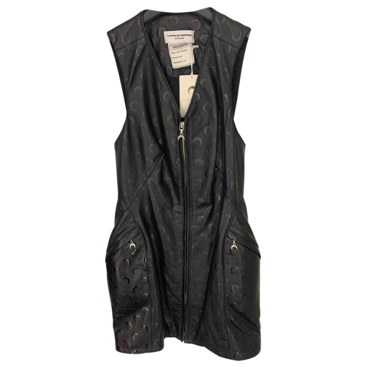 Marine Serre - Robe   pour femme en cuir - noir