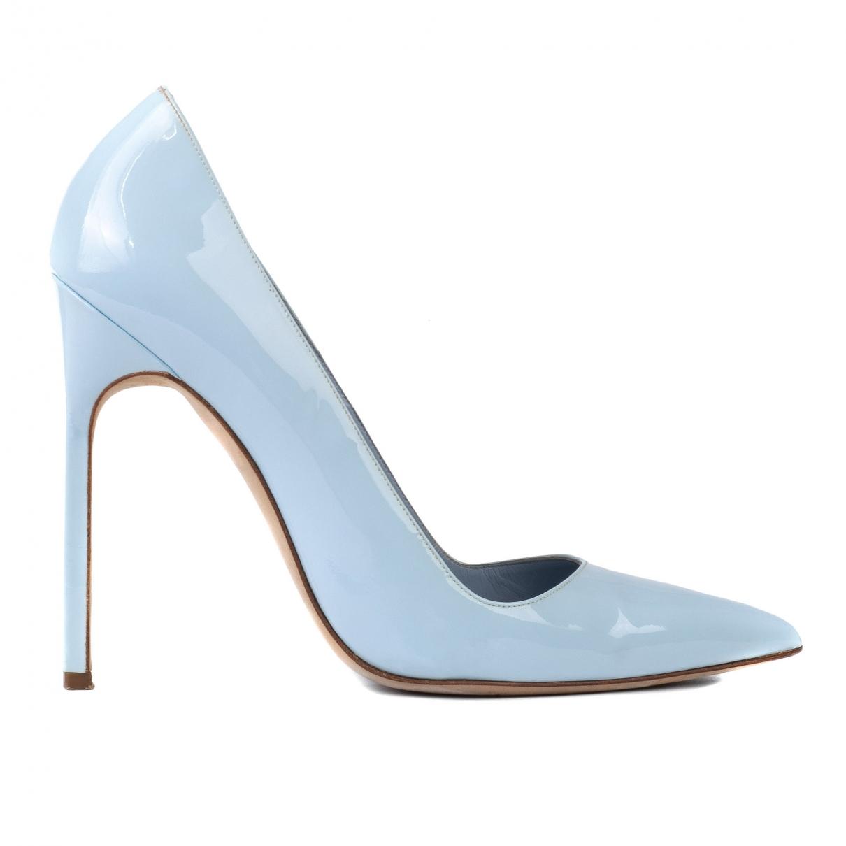 Manolo Blahnik - Escarpins   pour femme en cuir verni - bleu