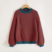Pullover mit Laternenaermeln und Argyle Muster