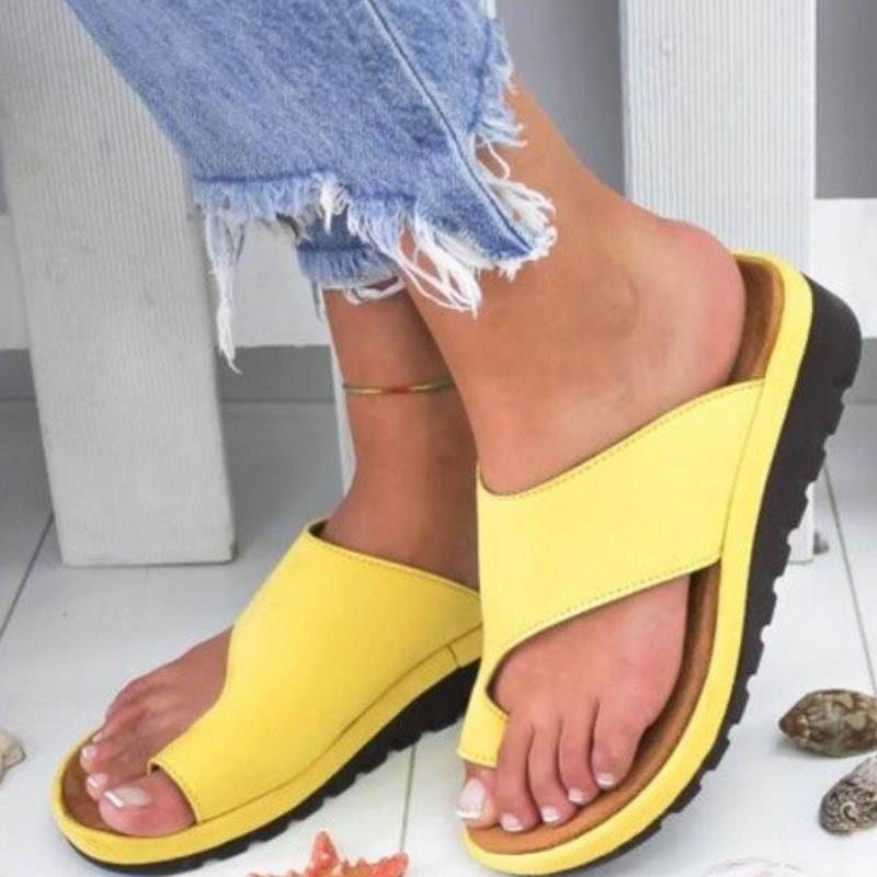 Ericdress PU Toe Ring Wedge Heel Women's Flat Sandals