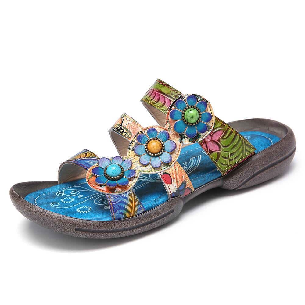 SOCOFY Leather Floral Strappy Non-slip Flat Sandals Slip on Slides
