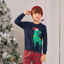 Boys Christmas Dinosaur Print Pullover