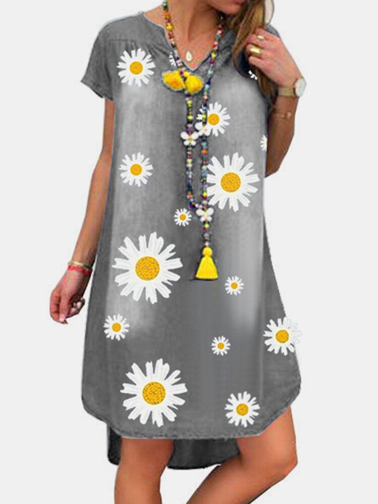Denim Daisy Floral Print Short Sleeve Casual Dress For Women