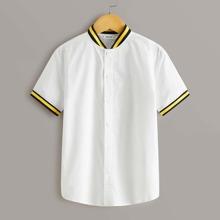 Boys Striped Trim Stand Collar Shirt