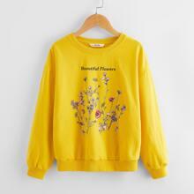 Pullover mit Buchstaben und Blumen Muster