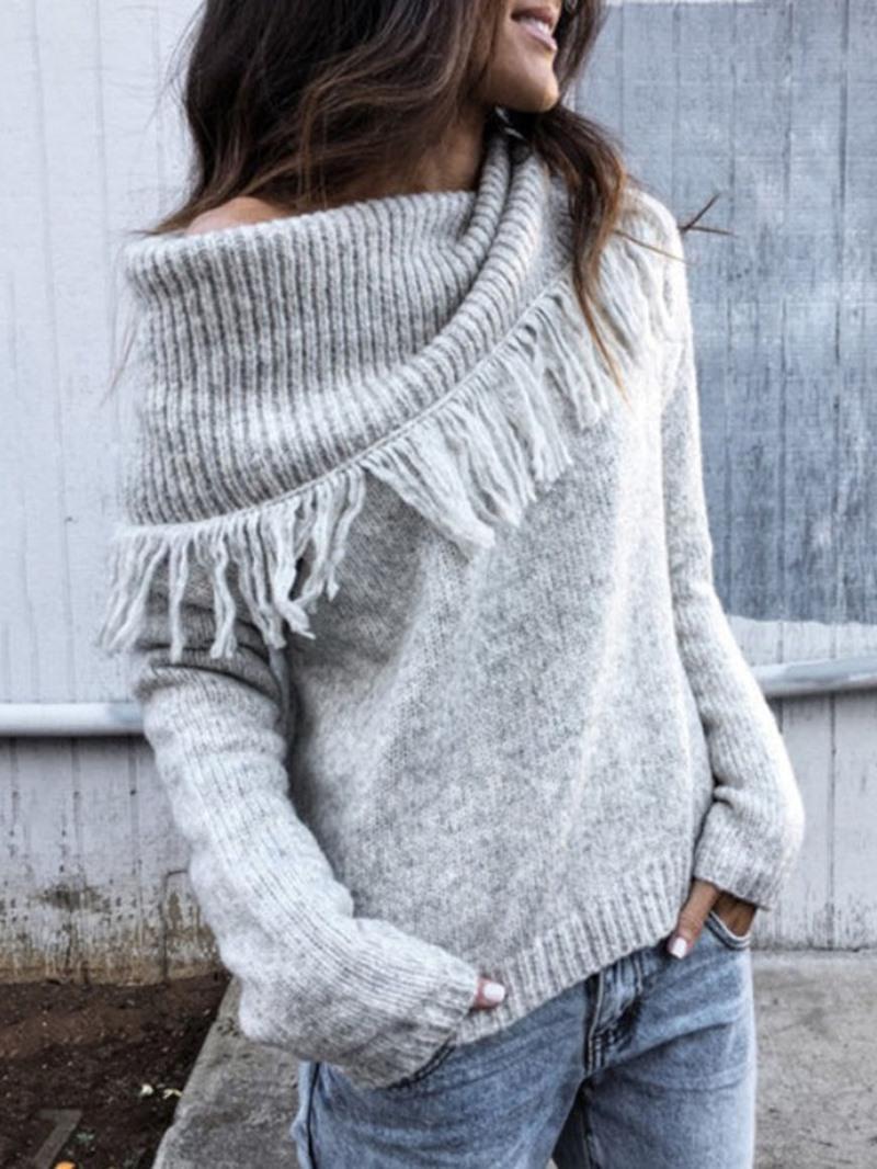 Ericdress Regular Thin Tassel Slim Long Sleeve Sweater