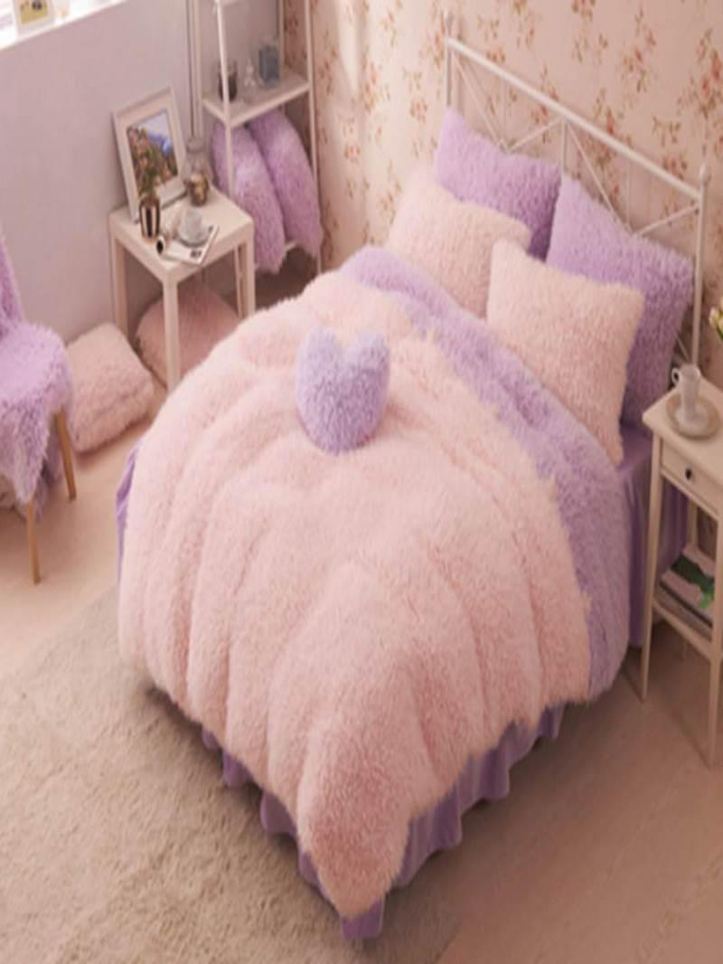 Vivilinen Pretty Soft Princess Style Purple Girls 4-Piece Bedding Set/Duvet Cover