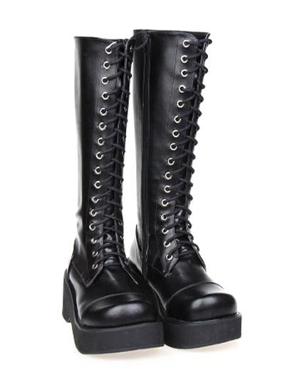 Milanoo Gothic Black Lolita Boots Platform Shoelace Zip Designed