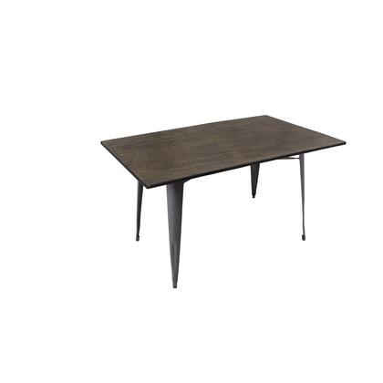 Oregon DT-TW-OR6036 E 59 Dining Table with Bamboo Tabletop  Metal Legs and Distressed Detailing in